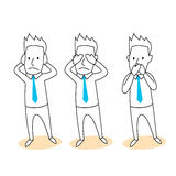 Hear, see,speak no evil cartoon. Hear no evil,see no evil, speak no vil Stock Image