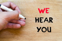 We hear you text concept Royalty Free Stock Photography