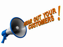 Hear your customers. Hear out your customers, words coming out of a megaphone or loudspeaker, concept of customer centric policies Royalty Free Stock Photo