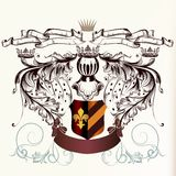 Hearaldicschild met kronen en linten in gegraveerde stijl Stock Afbeelding