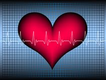 Hearbeat. Red plastic heart with a white oscillating heartbeat-line. Available as Illustrator-file Royalty Free Stock Photos