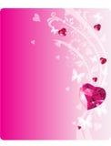Heard_card. Shiny ruby love hearts on ornament background Stock Photo