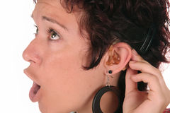 Hearing Aid. Young woman probation tones with Hearing Aid Stock Images