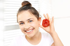 The hearing aid for a child stock photo