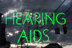 Hearing aids neon sign Stock Photography