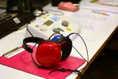 Hearing check equipment. Hearing screening and testing check equipment in a sound-proof testing booth Stock Photo