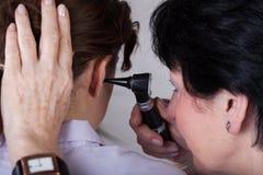 Hearing examination closeup Royalty Free Stock Photography