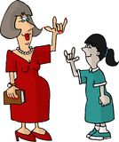 Hearing impaired teacher and student stock illustration