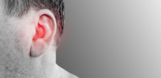 Hearing loss male symptom. Hearing loss male otitis symptom stock image
