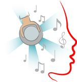 Hearing music. Beautiful abstract design of hearing music with notes Stock Image