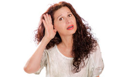 Hearing problems in mature woman Royalty Free Stock Image