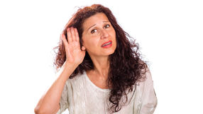 Hearing problems in mature woman Royalty Free Stock Images
