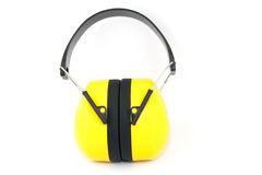 Hearing protection yellow ear muffs Royalty Free Stock Images