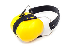 Hearing protection yellow foldable ear muffs Royalty Free Stock Photos
