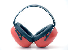Hearing Protectors. A isolated red ear protector Stock Photography