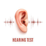 Hearing test. Ear on white background. Stock Photography