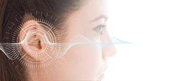 Free Hearing Test Showing Ear Of Young Woman With Sound Waves Simulation Technology Royalty Free Stock Photography - 103745647