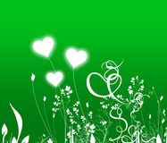 Hears. Green background with heart-flowers and plants Vector Illustration