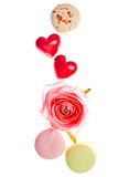 Hears and sweets isolated  background Royalty Free Stock Images