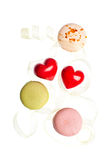 Hears and sweets isolated  background Stock Images
