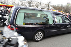 Hearse. Carrying the coffin of Polish president, who was killed in a plane crash in Russia (April 10, 2010 Stock Photos