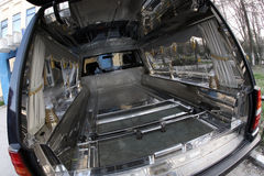 Hearse. A black new hearse. Inside view Stock Photography