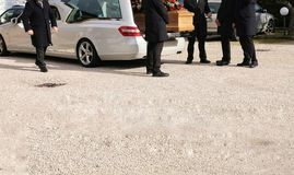 Hearse open with coffin. In funeral Royalty Free Stock Photography