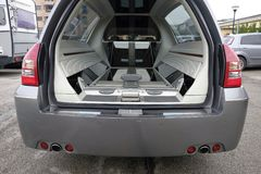 Hearse open and empty. Day Stock Images