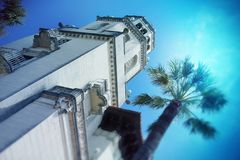 Front facade with tower at Hearst Castle near San Simeon, California - USA. Royalty Free Stock Photos