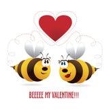 Hearst de las tarjetas del día de San Valentín con los pares de las abejas Foto de archivo