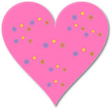 Heart-in 002. A pink heart-in designed in illustrator, decorated with small dots in different colours,in white background, with drop shadow for the heart-in Royalty Free Stock Image