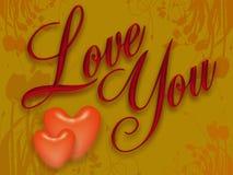 Heart 01. Two red hearts and written on a yellow background graphic Daha iyi bir çeviri ile katkıda bulunun vector illustration