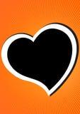 Heart. Black heart in orange retro background eps Stock Photo