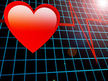 Heart. Red heart over blue background with  mesh Royalty Free Stock Photos
