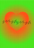 Heart. Diagnose and beat symbol on green background Stock Image