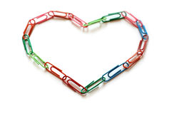 Heart. Made of paper clips Royalty Free Stock Image