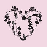 Heart. Illustration of an heart with leaves and birds Stock Photos