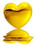 Heart. Golden heart on white background Stock Images