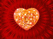Heart. Illustration of disco heart in a red radial background Stock Photos