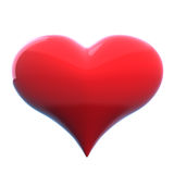Heart. Red shiny heart on the white background Stock Photos