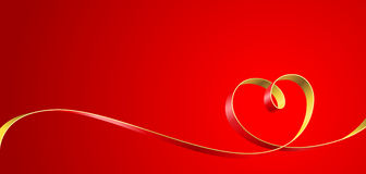 Heart. Ribbon entwined in a heart on a red background. Vector illustration Stock Photos