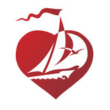 Heart. With a sail on his background,  illustration Royalty Free Stock Image