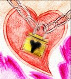 Colorful artistic Heart with padlock. Artistic illustration representing a heart, symbol of love and a padlock, symbol of unity, indicating that love unites the Stock Photo