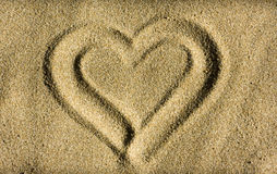 Heart. Shape drawn in sand Stock Photography