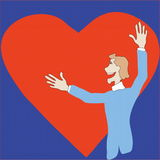 Heart. Image of man and hearts Vector Illustration