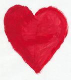 Heart. A childish water-color painting of the red heart