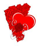 isolated Heart with red roses Stock Images