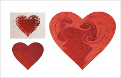 Heart. With ornament, grunge texture Royalty Free Stock Image