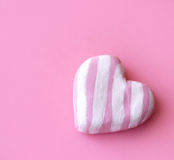 Heart. Valentine's postcard - pink patterned heart stock photography