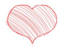 Heart. Red heart drawn and shaded on a white background vector illustration
